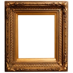 Antique French First Finish Giltwood Art Frame with Basket Weave, 19th Century