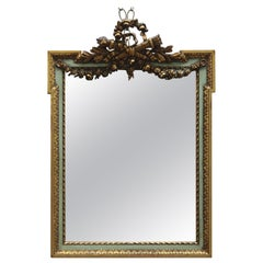 Antique French Floral Swag Gilt Wood Over Mantel Wall Mirror, 19th Century