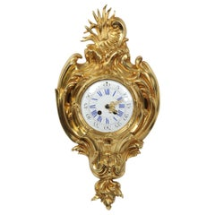 Antique French Gilt Bronze Rococo Cartel Wall Clock