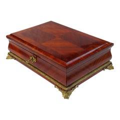 Antique French Kingwood Bird's-Eye Maple Jewelry Casket Box Tahan Paris