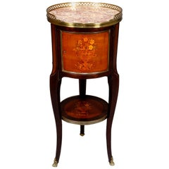 Antique French Louis XIV Kingwood Marble and Ormolu Panier de Fleur Inlaid Stand