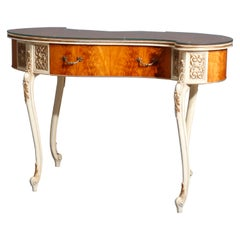 Antique French Louis XIV Style Satinwood Kidney Form Ladies Desk, circa 1930