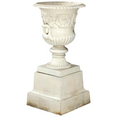 Antique French Neoclassical 2-Piece Cast Iron Garden Urn, 20th Century