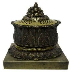 Antique French Ormolu Bronze Desk Ink Set Encrier Acanthus Grand Tour Regency