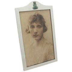 Antique George V Sterling Silver and Enamel Photograph Frame