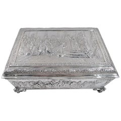 Antique German Silver Casket Box with Scenes of Napoleon's Life