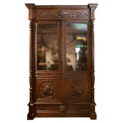 Antique Hand Carved French Oak Two Doors Bookcase