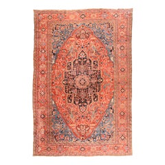 Antique Handmade Heriz Serapi Persian Rug