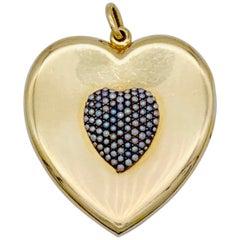 Antique Heart Locket Pendant Lovetoken Orient Pearl Gold Heart Pendant