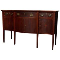 Antique Hepplewhite Style Satinwood Marquetry Inlaid Mahogany Sideboard