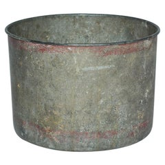 Antique Iron Bucket with Curled Rim