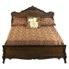 Antique Italian Baroque Solid Walnut Queen Bed