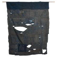 Antique Japanese Boro Futon Cover Made from Indigo Cotton, Early 20th Century