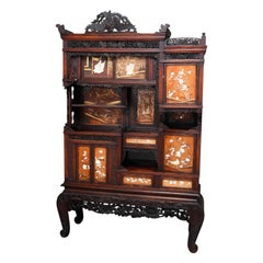 Antique Japanese Figural Carved Mixed Wood & Hardstone Inlaid Cabinet circa 1900