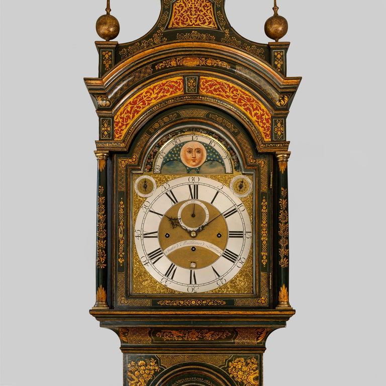 George III Lacquered Longcase Clock by John Monkhouse, London For Sale 3