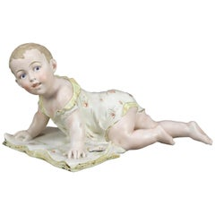 Antique Large English Hand Painted and Gilt Bisque Porcelain Piano Baby