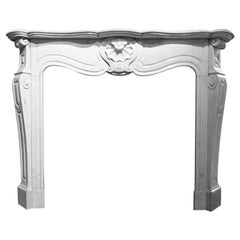 Antique Marble Fireplace Mantel Louis XVI Model, 19th Century
