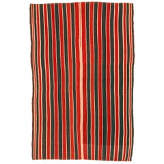 Antique Minimalist Jajim Flat-Woven Rug with Vertical Green/Red Stripes