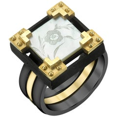 Antique Mother-of-Pearl Chinese Gaming Counter Gold Ring
