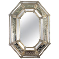 Antique Murano Venetian Glass with Gold Leaf Octagonal Mirror