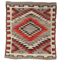 Antique Navajo Carpet, Folk Rug, Handmade Wool, Beige, Gray, Orange