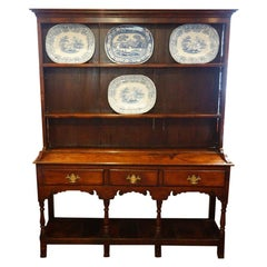 Antique Oak English Country Cottage Dresser with Plate Rack, circa 1840