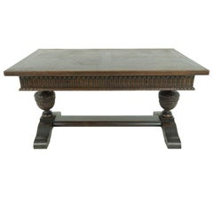 Antique Oak Writing Table, Desk With Large Bulbous Supports, 1794