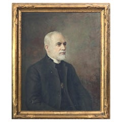 Antique Oil on Canvas Portrait Painting, Catholic Priest by Antonio Barone, 1935