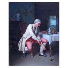 Antique Oil Painting Theodore Ceriez Belgian The Epicure Interior Scene