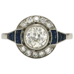 Old Mine Cut Diamond Engagement Ring Blue Sapphire Art Deco Style Platinum