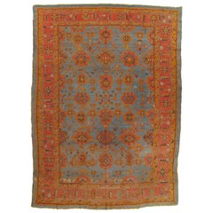 Antique Oushak Carpet, Handmade Oriental Rug Made in Turkey, Coral, Light Blue