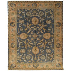 Antique Oushak Carpet, Handmade Oriental Rug Made in Turkey, Peach, Blue, Ivory