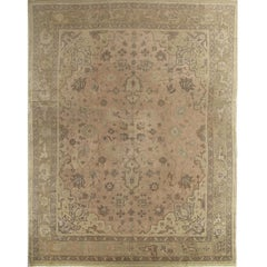 Antique Oushak Carpet, Handmade Oriental Rug, Soft, Taupe, Brown, Beige