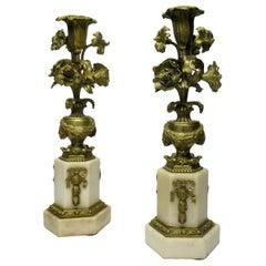 Antique Pair of French Ormolu Bronze Marble Candlesticks Candelabra Cream Gold