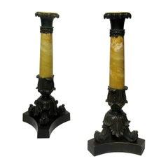 Antique Pair of Grand Tour French Bronze Dore Sienna Marble Ormolu Candlesticks