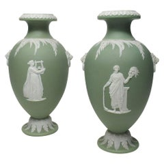 Antique Pair of Green Wedgwood Jasper Ware Urns Vases Mythological Scenes