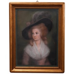 Antique Pastel Portrait Painting of Victorian Woman in Hat, 20th Century