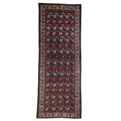 Antique Persian Bakhtiari Wide Gallery Runner Flower Design Hand Knotted