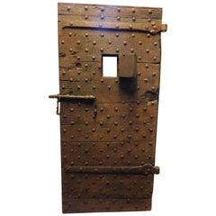 Antique Prison Door Studdet, Original Irons, Brown Wood, 19th Century, Italy