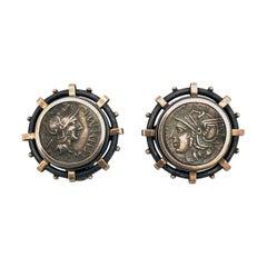 Antique Rocchegghianni Cufflinks Archaeological Style Coins Silver Rome