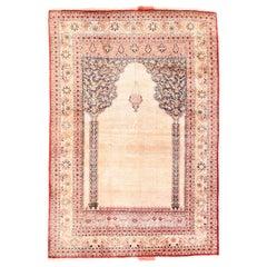 Antique Rug Persian Tabriz Haji Jallili, Silk on Silk, Hand Knotted, circa 1890
