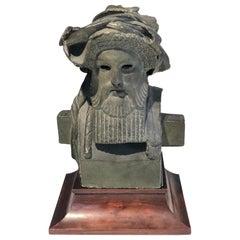 Antique Sculpture Dionysos Herm Plaster Cast Mahogany France