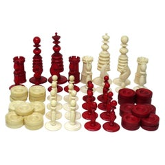 Chinese Set Jacques Barleycorn Hand Carved Bone Chess Board Pieces Set Draughts
