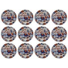 Antique Set of Twelve Masons Ironstone China Imari Cabinet Plates