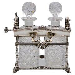 Antique Silver Locking Tantalus Original Decanters and Labels Europe Estate Find