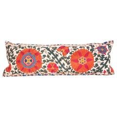 Antique Suzani Lumbar Pillow Case Fashioned from a 19th Century Bukhara Suzani