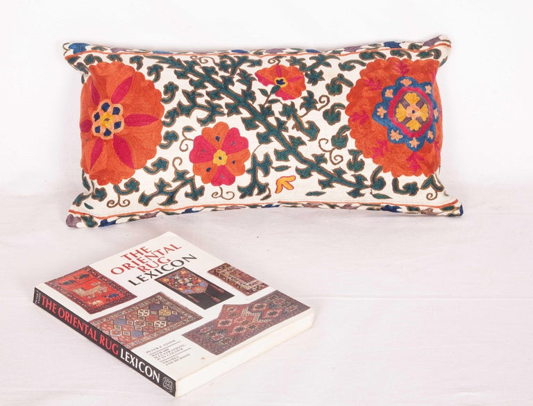 Cotton Antique Suzani Pillow Case Fashioned from a 19th Century Suzani from Uzbekistan For Sale