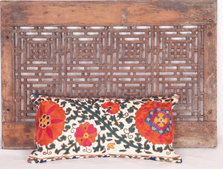 Antique Suzani Pillow Case Fashioned from a 19th Century Suzani from Uzbekistan For Sale 1
