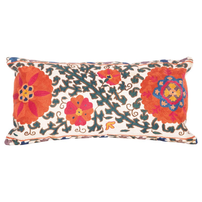 Antique Suzani Pillow Case Fashioned from a 19th Century Suzani from Uzbekistan For Sale