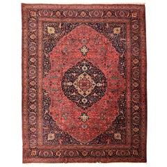 Antique Tabriz Persian Carpet in Red and Indigo, circa 1920